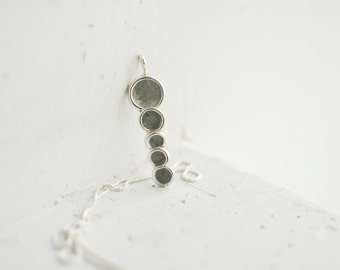 Minimalist Gray Pendant, Sterling Silver Necklace, Petite Small Charm