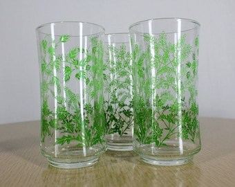 Vintage Libbey Glasses Green Floral and Foliage