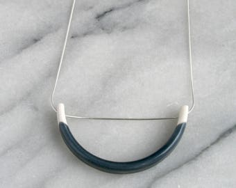 Porcelain and sterling 925 silver pendant necklace with indigo grey blue glaze // semicircle jewellery // blue and white ceramic necklace