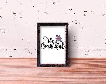 Life Is Beautiful Salamander Design Art Print Poster