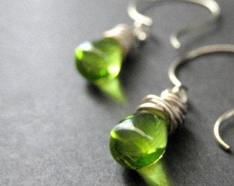 Green Earrings. Teardrop Earrings. Wire Wrapped Earrings in Green and Silver. Elixir of Absinthe. Handmade Earrings.
