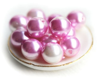 8mm Pink faux pearls Pink White Round Faux pearl beads, pink czech glass beads Druk round beads - 20Pc - 0649