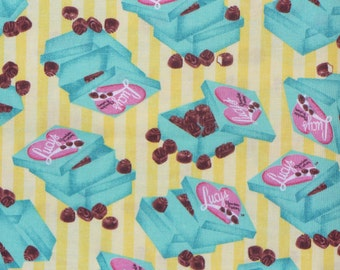 I Love Lucy Fabric, Chocolate Factory, Candy Boxes on Stripes,  Half Yard, Lucy and Ethel, Lucille Ball