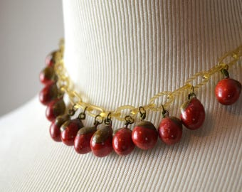 1920s Necklace, Choker Necklace, Flapper Necklace, Celluloid Necklace, Red Beaded Necklace, 1920s Jewelry, 20s Choker, 1920s  Red Necklace