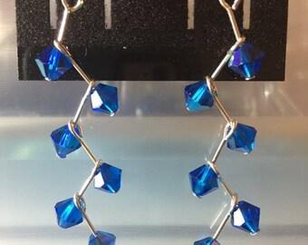 Blue cascading earrings