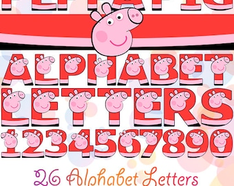 PEPPA PIG Digital Alphabet 36 PNG Letters & Numbers Printable Font Instant Download Clipart Graphics Birthday Baby Child Party Decorations