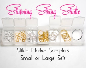 Sampler Metal Ring Stitch Markers 4 sizes in 2 colors - Small Sampler or Large Sampler
