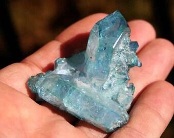 Aqua Aura Blue Quartz Crystal Cluster