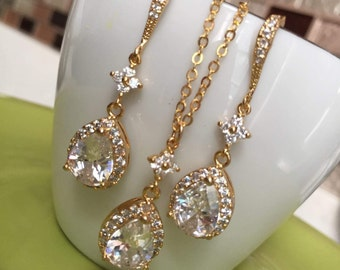 Gold Swarovski crystal bridal wedding bride bridesmaid jewelry set,glass stone gold crystal necklace and earrings