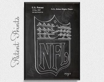 NFL Helmet Display Patent Print, Football Prints, Football Posters, Football Blueprints, Football Art, Football Wall Art, Sport Prints