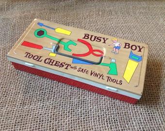 Busy Boy Tool Chest Tin Box 1970s
