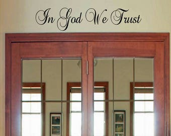 In God We Trust vinyl wall decal, religious decal