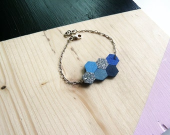Bracelet Hava leather and fabric glitter hexagonal shape, 925 Silver, blue, gray, silver