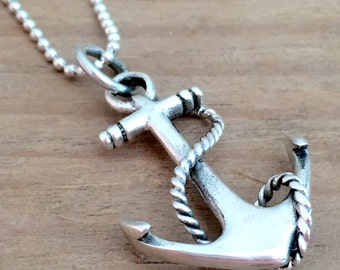 Sterling Silver Anchor Pendant, Small Anchor Pendant, Silver Pendant, Nautical Jewelry, Anchor Jewelry, Mermaid Jewelry, Beach Jewelry