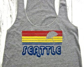 Seattle sunset tank top. Women's Seattle tank. American apparel.Seattle rain top.