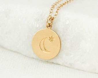 Gold Moon & Star Necklace - Crescent Moon Pendant - Lunar Necklace
