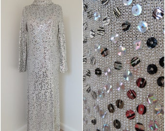 1970s Silver Sequin Maxi Disco Dress - Womens Bust 36 - Long Sleeve Roll Collar (B4)
