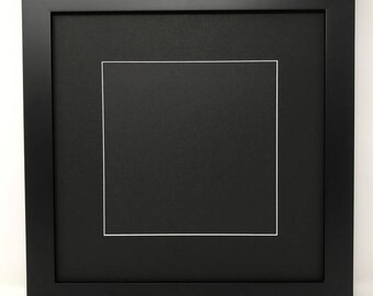 """16x16 1.25"""" Black Solid Wood Picture Frame with Black Mat Cut for 12x12 Picture"""