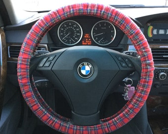 Red Plaid Flannel Steering Wheel Cover
