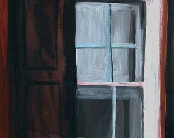 Acrylic and India Ink Window Painting