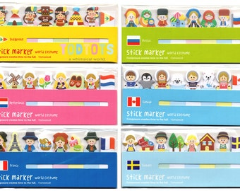 Sticky Notes - World Costume Stick Marker Series 1 (2pkts) | Kawaii Post-its | Writing Paper | Back to School | Office Supplies |