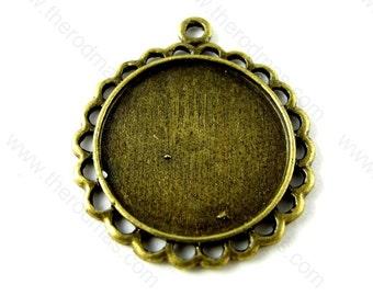 "Bronze Chrysanthemum Pendant Tray - 20mm 3/4"" - 10 pcs SF008"