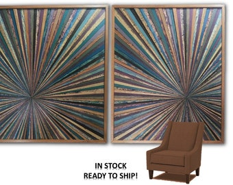 Reclaimed Wood Starburst Set of Two Wall Art Sculpture Abstract Rustic Modern Farmhouse Transistional Decorative Infinity Point Unique OOAK