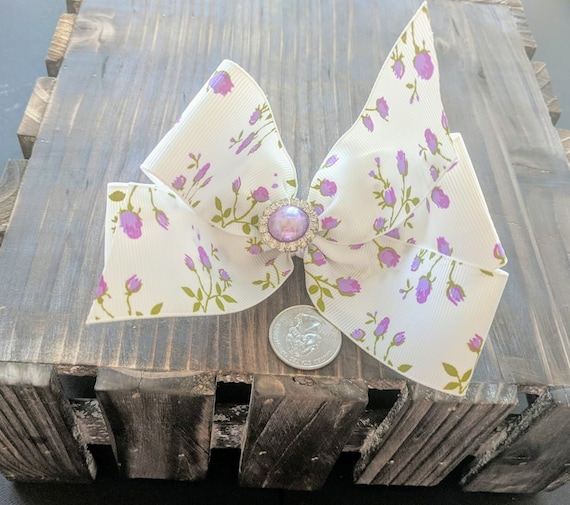 White Purple Rosebud 4 inch Hair Bow Boutique Hair bow Butterfly Hair Bow Roses Purple Hair Clip Childrens Accessory Floral Hair Bow