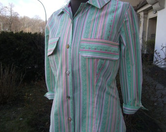 green striped WomensBlousel  Blouse Size S   Cottonblouse ,  longsleeves Blouse - handmade Blouse