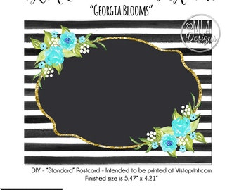 DIY Vistaprint Standard Size Postcard, Georgia Blooms, Blank Template Instant Download - Notecard Inviation, Stationary, Party Invite