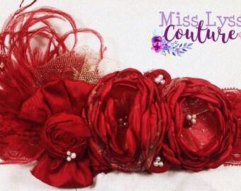 Scarlet Hearts Couture Headband- French inspired headband