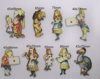 9 X Alice in Wonderland and her friends. 9x cutouts per pack