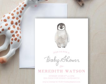 Penguin Baby Shower Invitation, Penguin Invitation, Gender Neutral Baby Shower, Animal Themed Baby Shower, Kids Party Invitation