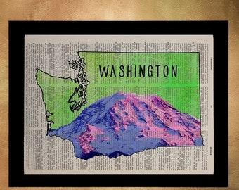 SALE -- Mt Rainier Dictionary Art Print Pacific Northwest Seattle Washington Map Wall Art Home Decor Fine Art Print da618