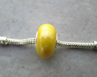 1 Pearl charms / bead European murano ceramic / porcelain yellow