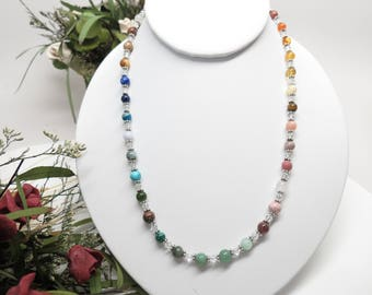 Chakra Necklace, Gemstone Necklace With Swarovski Crystals In Sterling 16-20 Inches, Multi Gemstones Necklace, Meditation Necklace, Spirital