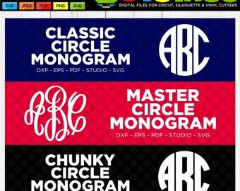 Monogram Letters SVG Master Circle SVG Monogram svg Circle Monogram SVG Cricut Files Silhouette Files Scan n Cut Files Cricut Letters
