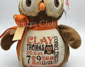 Personalized baby gift, personalized plush, birth announcement, stuffed owl, best baby gift ever, plush, stuffed animal, Owl, keepsake