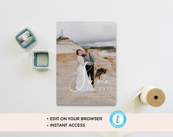 Elegant save the date photo card/ save the date template/ photo save the date/custom save the date/wedding template/printable save the date