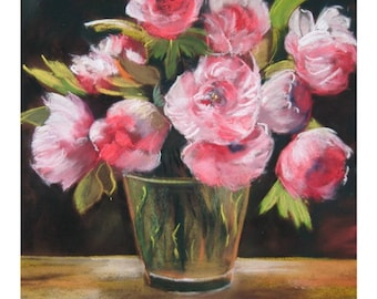 painting of a bouquet of flowers, pink peonies, size 60x80