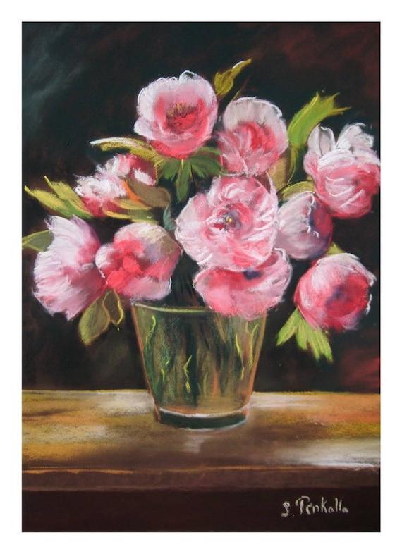 tableau peinture d 39 un bouquet de fleurs des pivoines. Black Bedroom Furniture Sets. Home Design Ideas