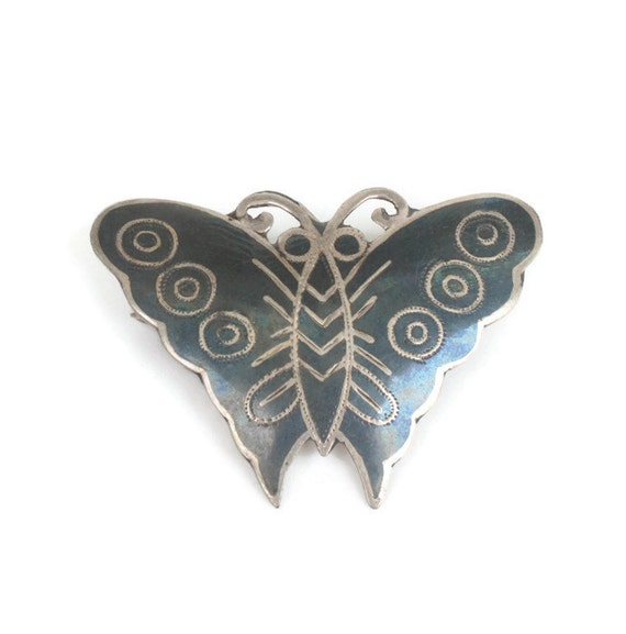 Siam Sterling Butterfly Brooch Niello Enamel Thailand Bug Insect Jewelry Vintage