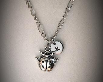 Personalized Lady Bug necklace * Beetle necklace * charm necklace * lady bug charm necklace * Initial necklace * monogram necklace