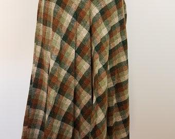 Vintage 70s Check Tweed Pleated Skirt/SZ 18/Green Brown Cream Check/Calf Length/Retro Skirt