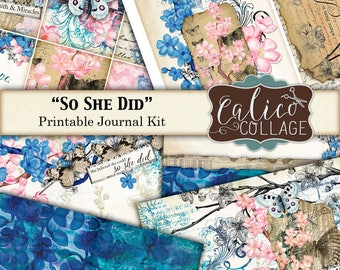 Printable Journal Kit, Ephemera Pack, Junk Journal Kit, Butterfly Journal, So She Did, Digital Paper, Journal Pages, Calico Collage, Digital