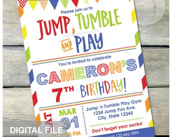 "Gymnastics Birthday Invitation Jump Tumble Play Boys Girls Party - Blue - DIGITAL Printable Invite - 5"" x 7"""