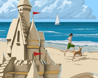Kennebunk Beach, Maine - Sand Castle (Art Prints available in multiple sizes)