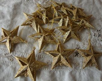 """Gold glitter star ornaments 2"""" mini stars Christmas crafts supplies glittered christmas decor gold stars"""