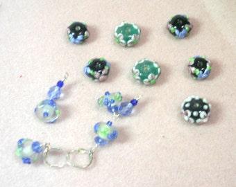 11 Applique Glass Floral Beads - Assorted   - De-Stash No. 1708