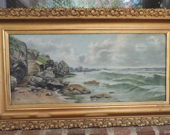 Antique VICTORIAN SEASCAPE Coastal View Cloudy Day Oil Painting GOLD Frame c1900s